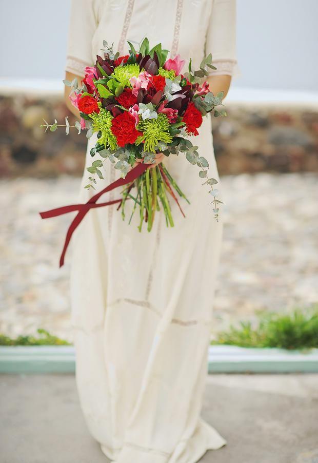 Bohemian wedding styled shoot in Santorini, Greece.