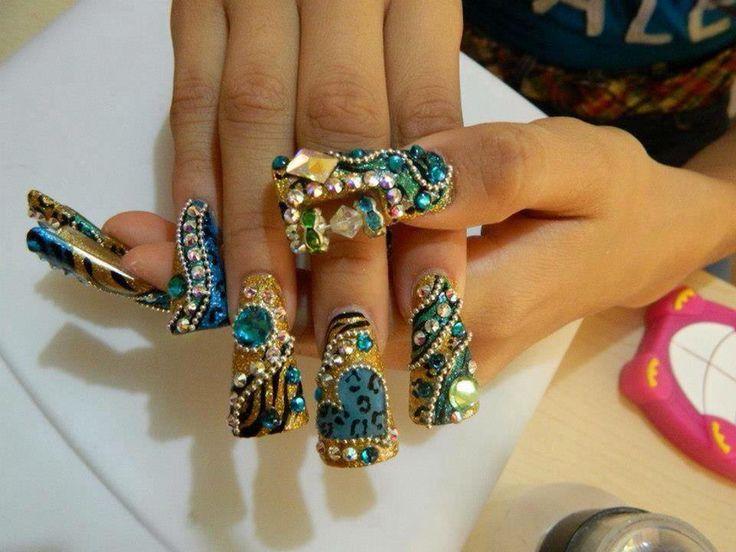 Blue and Gold. Kawaii ArtExoticBling NailsFantasyGameNail ... - 162 Best Nail Obsessed (EXOTIC) Images On Pinterest Coffin Nails