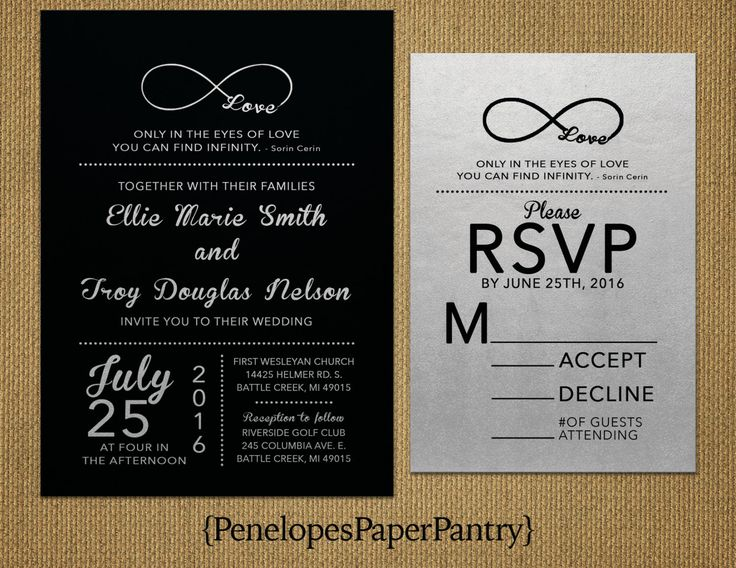 Elegant Black And Silver Wedding Invitations Infinity Love SymbolRomanticSimpleShimmeryOpt RSVP CardCustomizableWith Envelopes