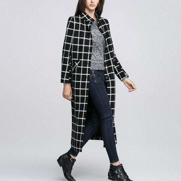 2016 женщины куртка новый черный плед кашемир шерстяное пальто x долго отрезок шинели Большой размер толстые теплые парки марка пальтокупить в магазине Vangull Fashion StoreнаAliExpress