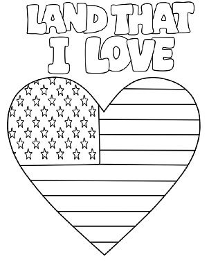 Gallery For gt American Flag Heart Coloring Page