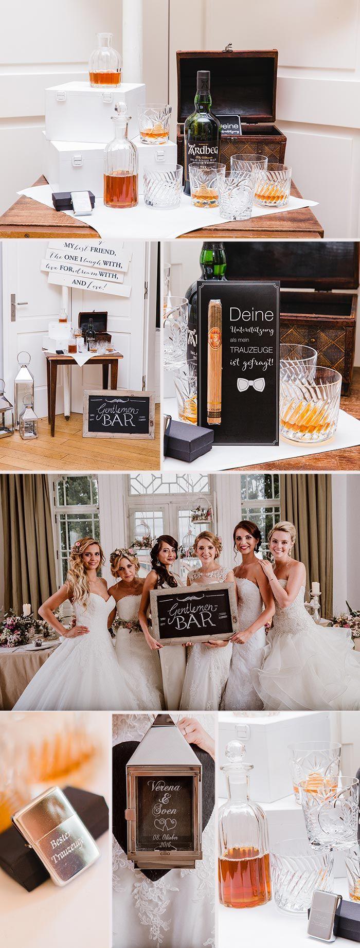 Eine rustikale Whiskey Bar ist eine ausgefallene Idee für die Herren der Schöpfung an der Hochzeit. Aber auch Frauen können sich natürlich an einem guten Whiskey und einer Zigarre erfreuen. I© Andreas Nusch Hochzeitsfotografie