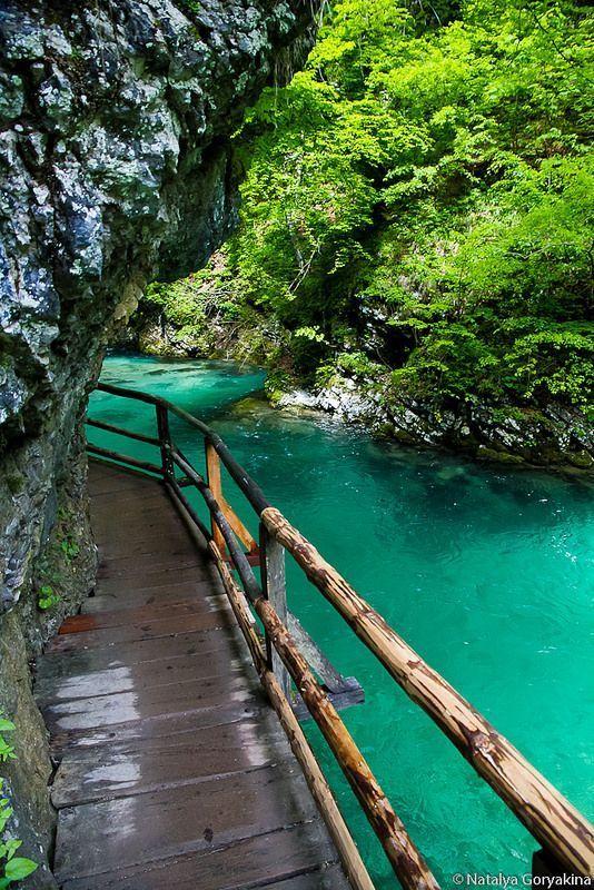 Bled (Vintgar) Gorge, Triglav National Park, Slovenia.. Check out those blue seas. #SuperyachtDestinations