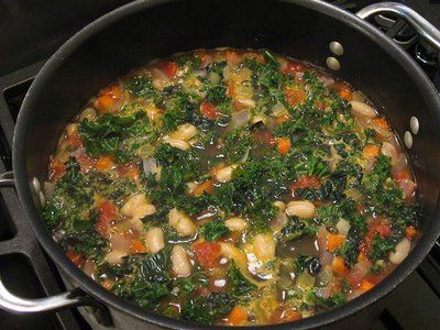 Staple veg recipe- VegTuscan Bean Soup with Kale and Cannellini Beans.  This soup is very filling yet is has less than 200 calories per bowl! It's also low in fat and high in fiber.