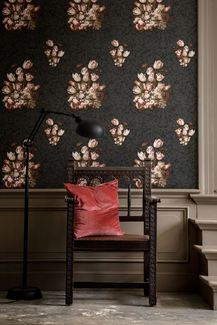 Our own Dutch Masters inspired wallpaper- a beautiful take on Floral Still Life by Hans Bollongier