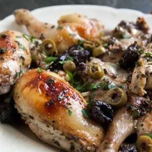Chicken Marbella with Garlic, Spanish Green Olives, Brown Sugar, and White Wine~I use to serve this in my catering business 25 yrs ago.  Thanks Silver Palette Cookbook!  It's delicious!