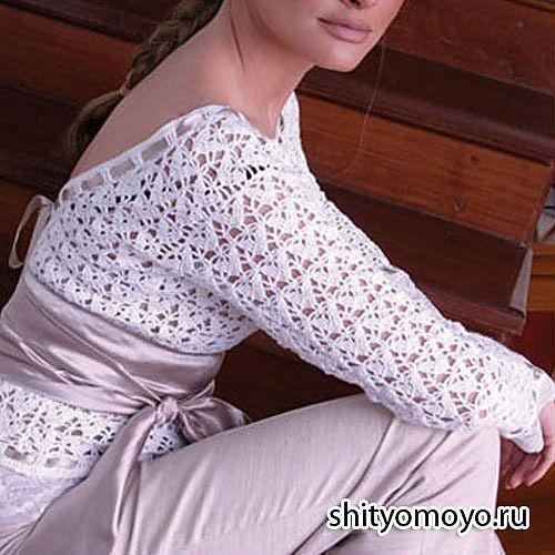 Белая блузка с открытой спиной, связанная крючком. Описание + схемы/Пуловеры. Жакеты. Джемперы. Кофточки. Блузки. Свитера/Вязание/Статьи / Шитье, вязание, рукоделие, бисероплетение