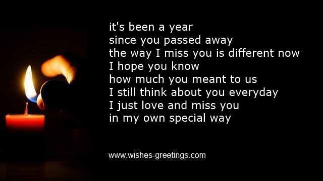 Death Poems | One year death anniversary messages funeral first reminder quotes