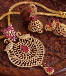 Buy Awesome cz-ruby designer peacock necklace set necklace-set online