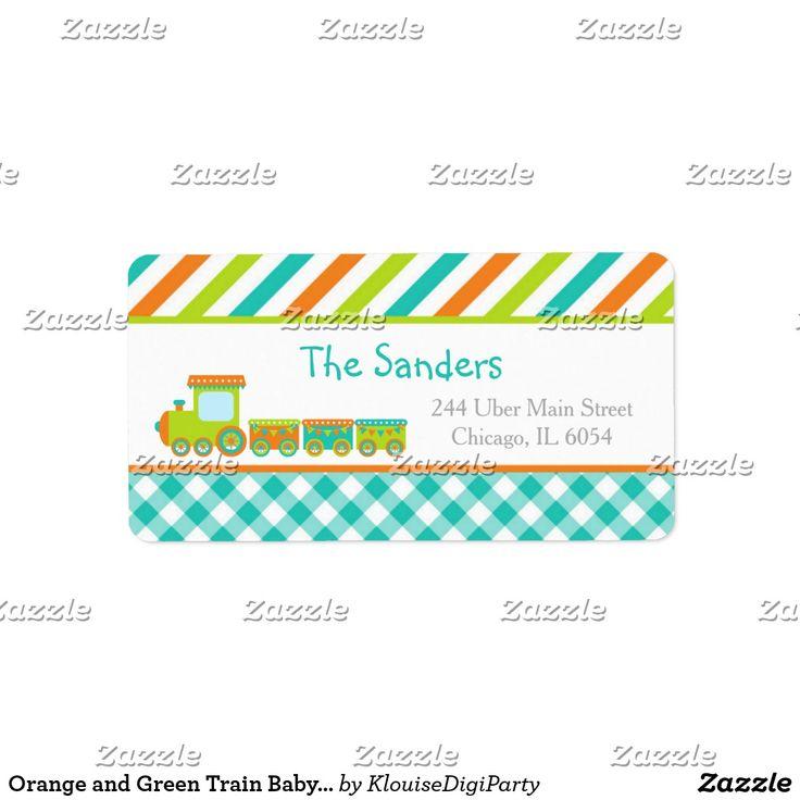 Orange and Green Train Baby Shower Label
