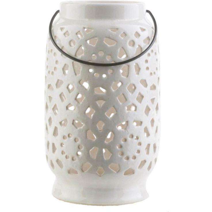 11 Madison Links Ivory White Ceramic Large Pillar Candle Holder Lantern