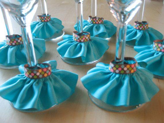Teal & Polka Dots  Wine Skirts  Charms  Set of 8 by frillmeup, $16.00