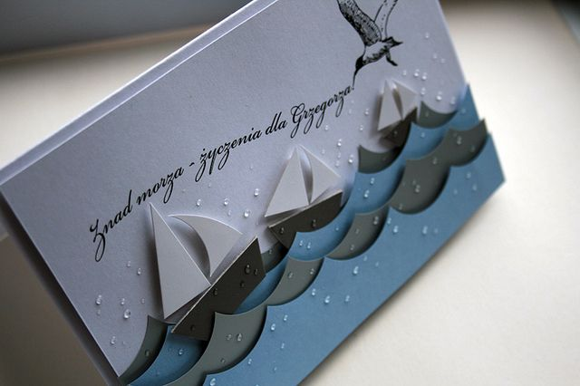 By minttint. Sailboats and waves cut from cardstock and popped up on card.