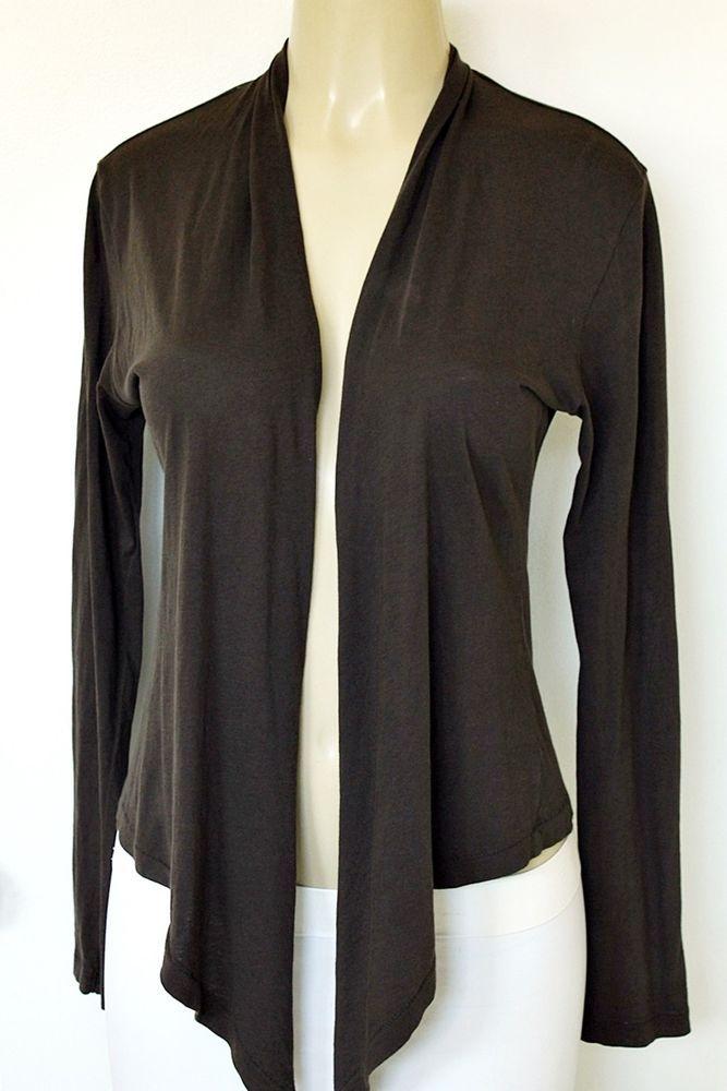 Alternative Vintage Soft Pima Cotton Wrap Jersey Knit Casual Brown Top Cardigan #Alternative #KnitTop #Any