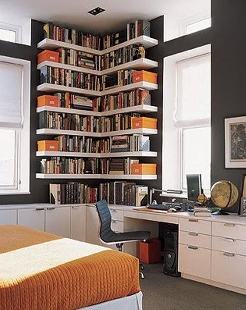 Storage ideas for small spaces - LOVE the corner book shelves. Description from pinterest.com. I searched for this on bing.com/images