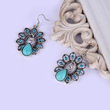 Павлин серьги мода дамы бирюзовый камень подвеска длинное пирсинг ювелирные…