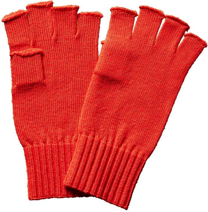 Portolano Men's Red Fingerless Wool Gloves
