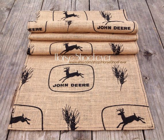 Burlap John Deere Table Runner 4ft.  Western Home Decor by HorseShoeFever. Country, Rustic, Modern, Farm, Ranch, Cowgirl, Cowboy, Horses, Rodeo, Wall Art, Birthday, Graduation, Christmas, Gift Idea, Present Ideas, Table Setting, Photography