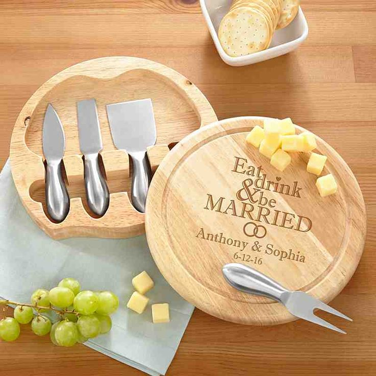 Eat Drink & Be Married Round Cheese Board Set