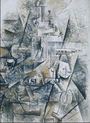 Georges Braque Clarinet and Bottle of Rum on a Mantelpiece 1911 oil on canvas 81 x 60cms