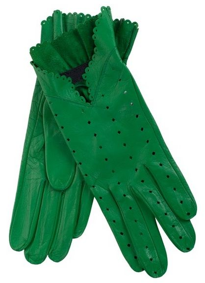 Emerald Green Leather Gloves with Diamond-shaped Perforations & Scallop-edged Trim ~ by Christine Bec ....