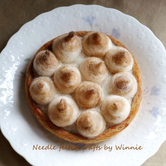 Needle felted Meringue kisses pie handmade dessert