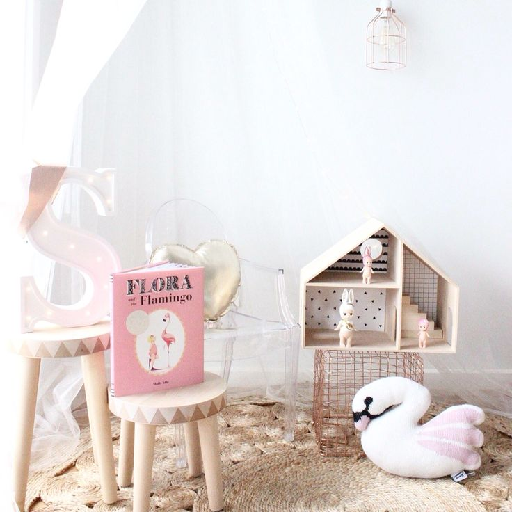 Styled by #LittleSandCo #homelycreatures #swan #flamingo #white #whimsical #dollhouse #numero74 #canopy