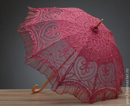 Кружевной Зонт - Вечная любовь №7 (цвет розовый) - розовый,зонт,зонтик