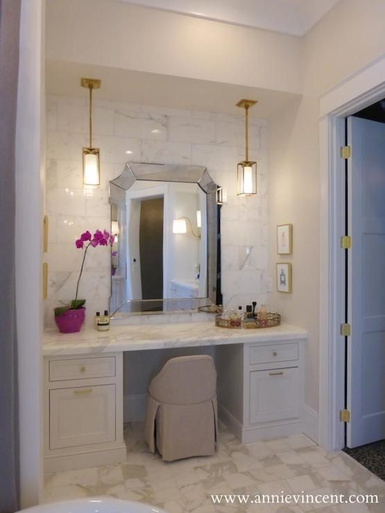 Annie Vincent Interiors - bathrooms - bathroom dressing table, make up vanity, built in dressing table, built in make up vanity, marble tile...