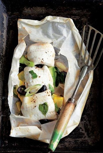 "SOLE with SUMMER SQUASH, OLIVES & BASIL EN PAPILLOTE ~~~ this recipe is shared from the book, ""the perfect ingredient"". [Bryn Williams] [leitesculinaria]"