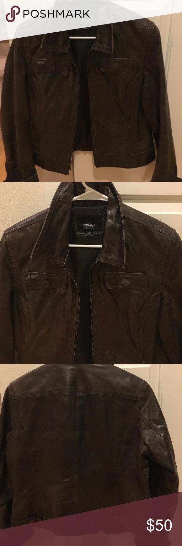 Chocolate Brown leather Jacket sz L Beautiful leather jacket that never goes out of style.  No impeccable shape. mossimo Jackets & Coats
