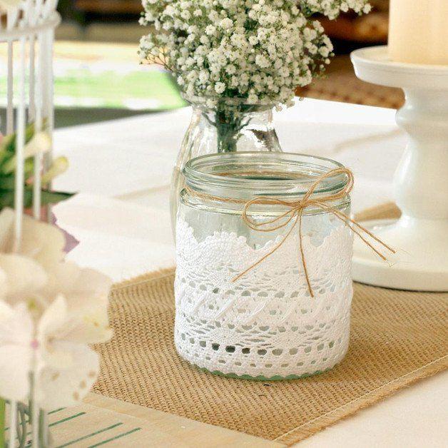 Romantisches Windlicht mit Spitze im Shabby-Style als Hochzeitsdeko / romantic…
