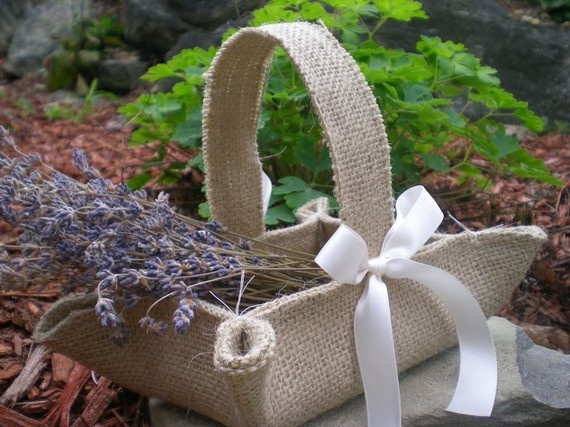 flower girl basket with white rose petals