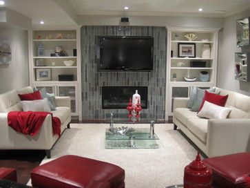 Wall unit for television and fireplace by Signature Custom Cabinets Inc.  www.signaturecustomcabinets.com
