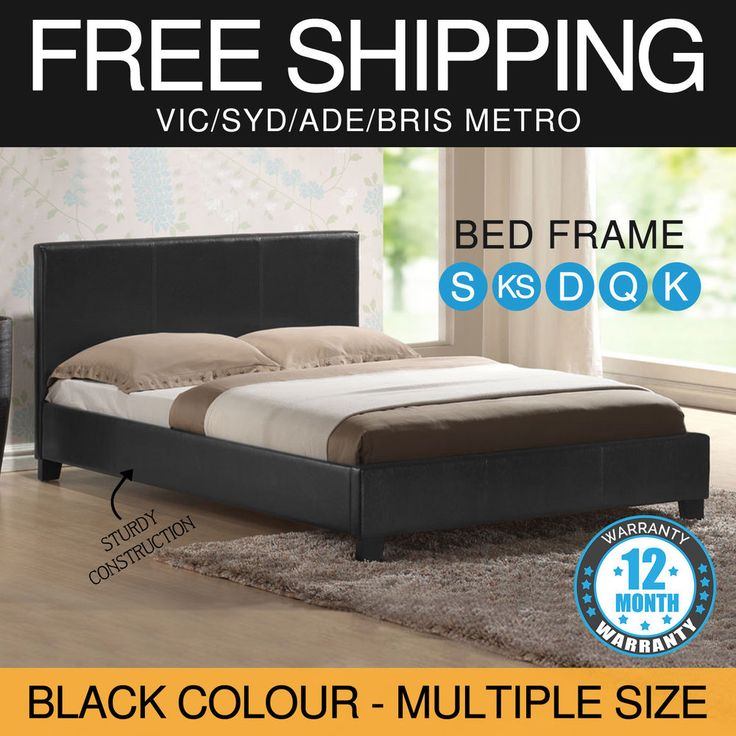 Modern Stylish Bed Frame Various Size Black Faux Leather Bentwood Slat Mondeo