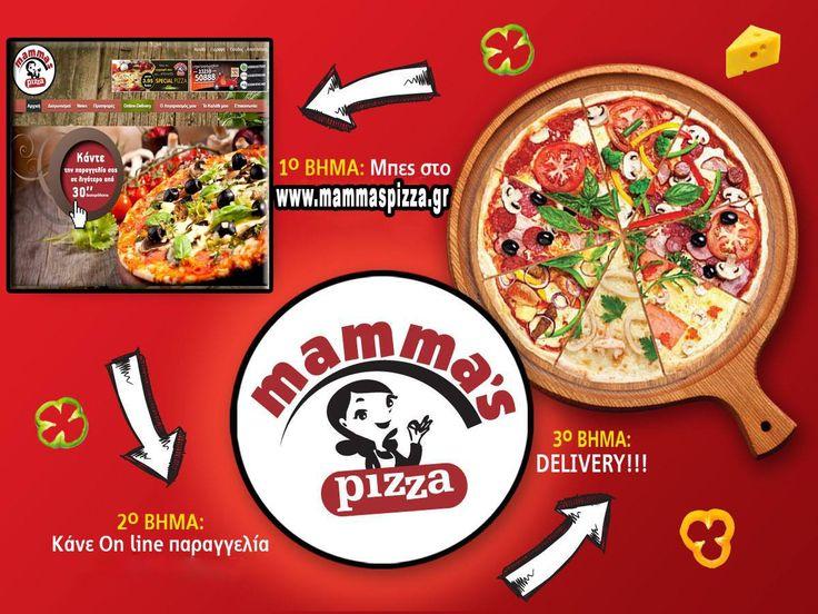 Τα βήματα είναι απλά.. και ο προορισμός.. ΛΑΧΤΑΡΙΣΤΟΣ!! Μπες στο site μας, κάνε την παραγγελία σου και απόλαυσε τις πιο δυνατές γεύσεις στις πιο οικονομικές τιμές.. Γιατί η mammas φτάνει πρώτη!! www.mammaspizza.gr