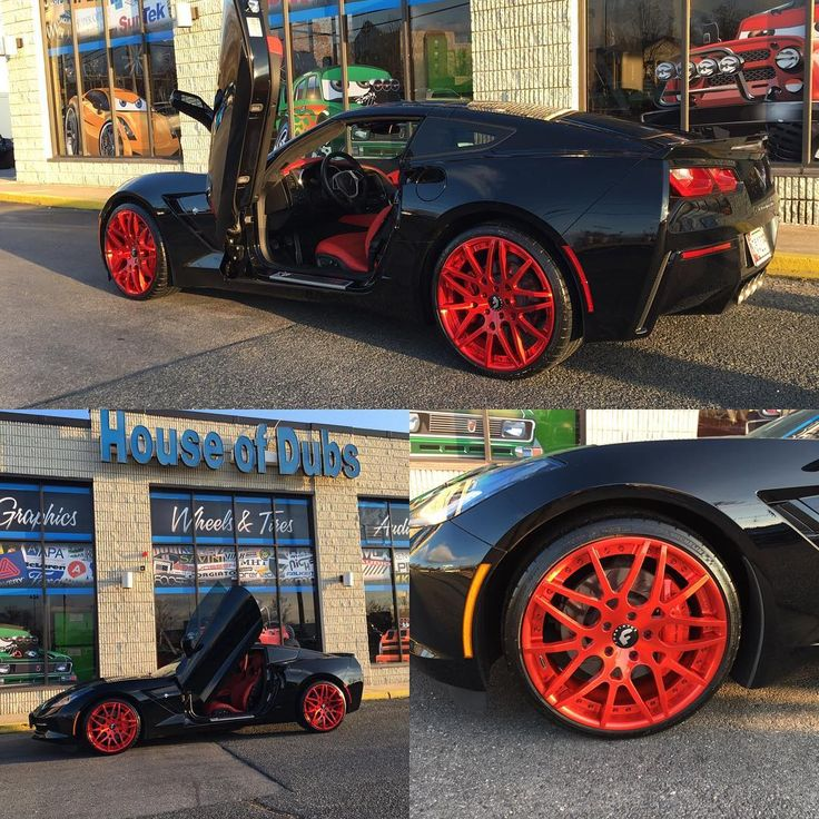 Yup we put the doors up and red bottoms on her feet - Chevy Corvette C7 with Forgiatos and lambo doors #houseofdubs #stingray #redbottoms #forgiatos #chevy #c7 #handsupdontshoot thehouseofdubs.net