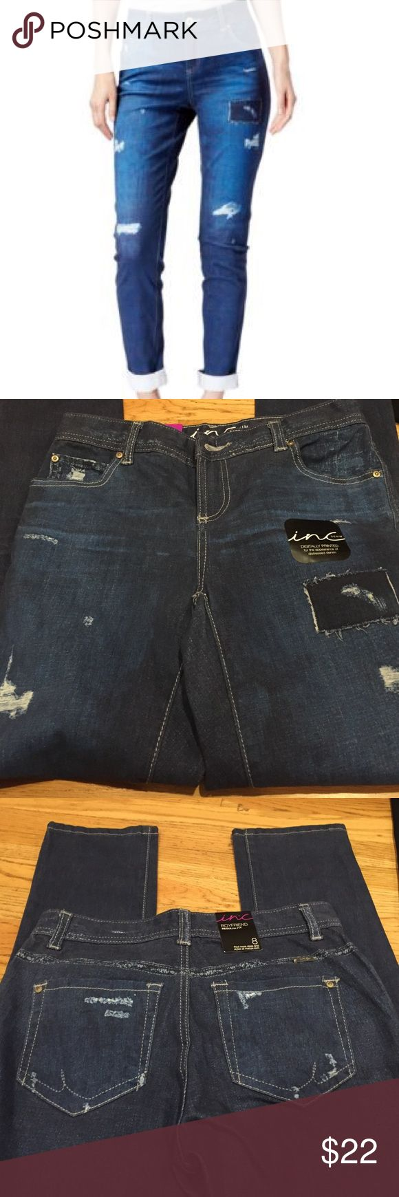 "Inc Boyfriend Jeans Regular Fit Distressed look Regular Fit  98% cotton 2% spandex  Brand New but no tags except the tag that says fit and size   40"" length  inseam is 31"" rise is 9""  Across the top laying flat is 14"" INC International Concepts Jeans Boyfriend"