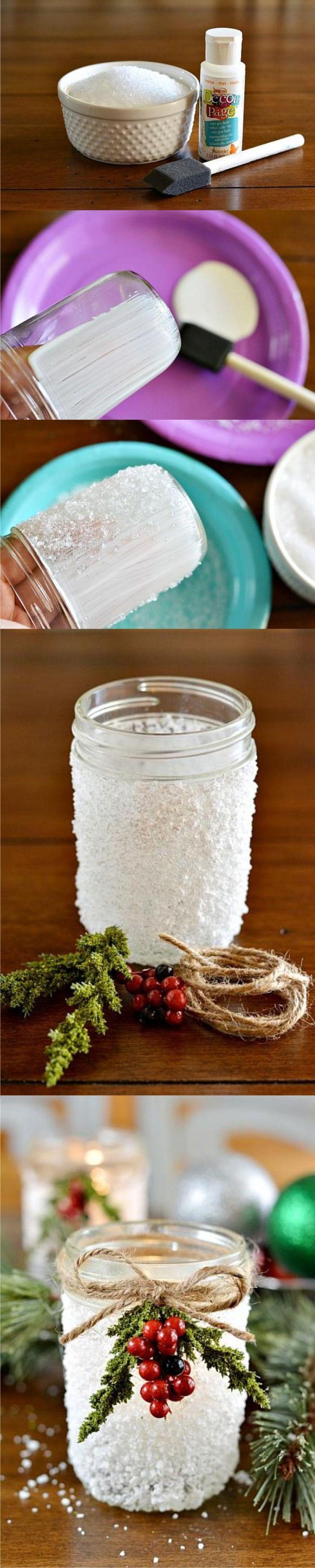 Decoración navidad reutilizando tarro - decoart.com - DIY Snowy Christmas Mason Jar