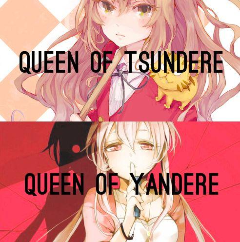Tsundere and Yandere. Aisaka Taiga from Toradora and Gasai Yuno from Mirai Nikki