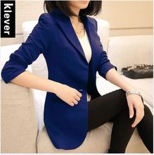 Mujeres blazers y chaquetas 2015 de primavera y otoño medio largo de un botón mujeres blaser con bolsillos más damas de gran tamaño de TP36(China (Mainland))