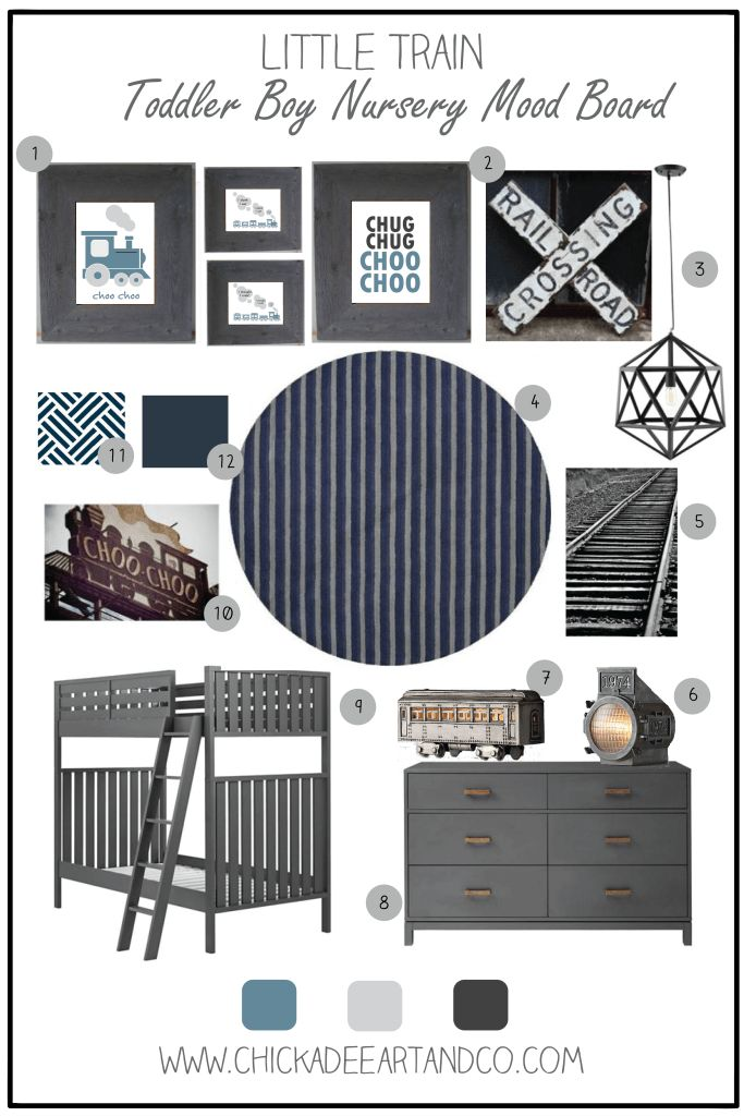 Choo Choo Train Nursery Mood Board by Chickadee Art and Company. This would be great as a nursery or kid's room!  http://www.chickadeeartandco.com/little-train-nursery-mood-board/