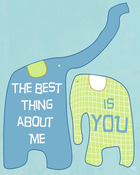 Emotional love quote elephants wall art , love words art , digital illustration drawing , blue lime green, children art print room decor. $15.00, via Etsy.