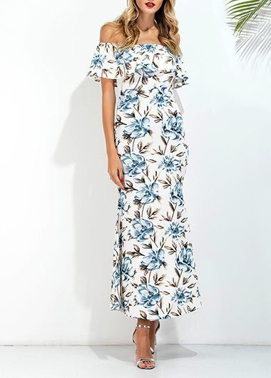 High Waist Printed Off the Shoulder Maxi Dress on sale only US$31.11 now, buy cheap High Waist Printed Off the Shoulder Maxi Dress at liligal.com