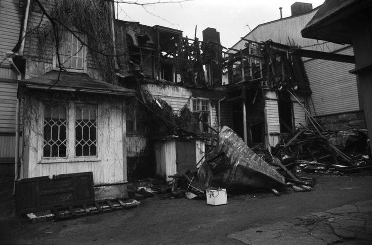 Burnt house at Vallilantie, Helsinki Finland