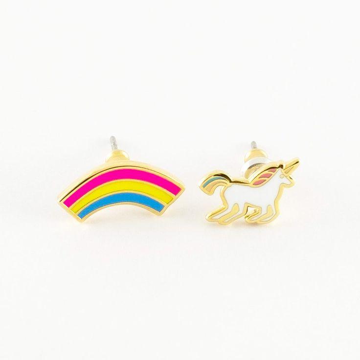 Unicorn & Rainbow Earrings - 22K Gold - Best gift ever! - Made of Sundays