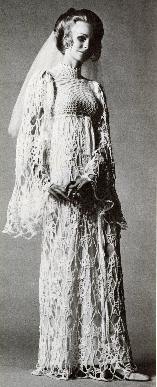 Vintage Crochet Vogue Wedding Dress by wonkyzebra