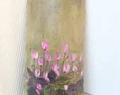 Handpainted unique decorative ceramic roof tile over 60 years old - with cyclamen flowers