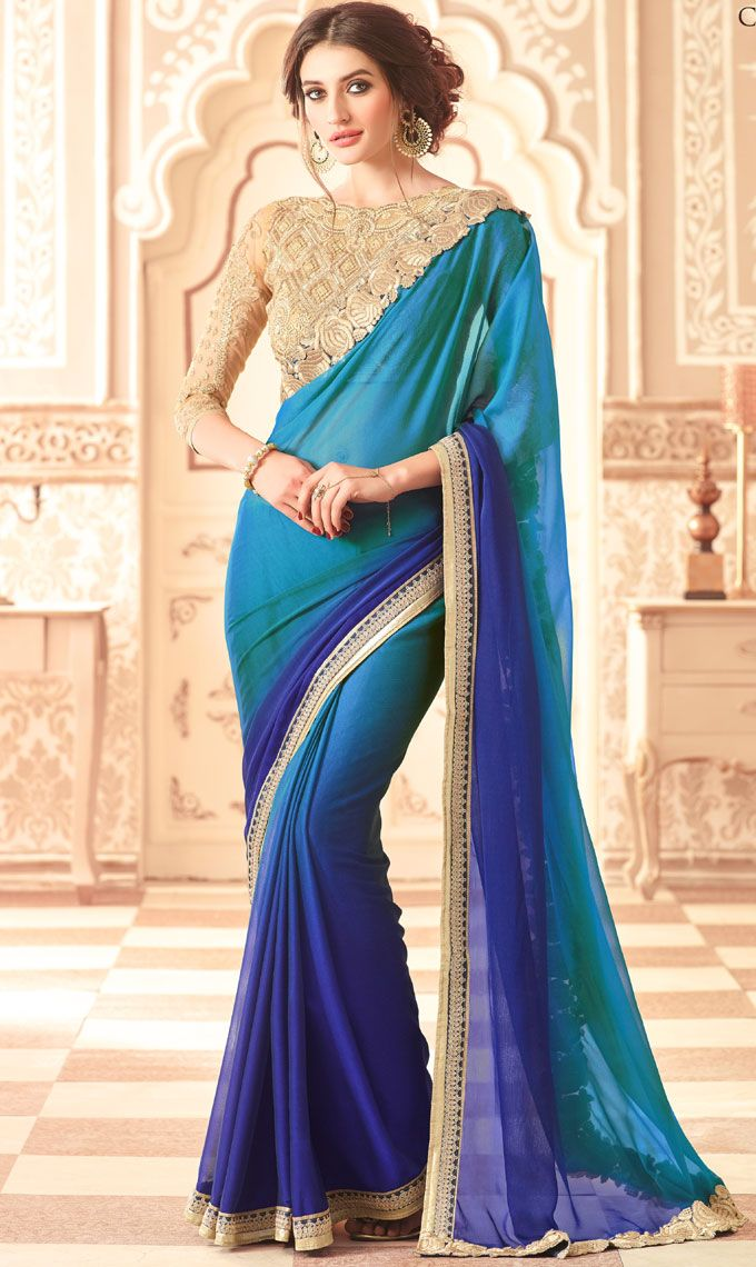 696069407eb36e Pepsi Blue with Peacock Blue Colored all Over Plain Body Designed Georgette  Fancy Saree with Patch work Border and Netted Designer Blouse Part.