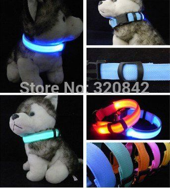 Nylon Pet LED Dog Collar Night Safety LED Flashing Glow LED Pet Supplies Dog Cat Collar Small Dogs Collars with CR2016 Battery